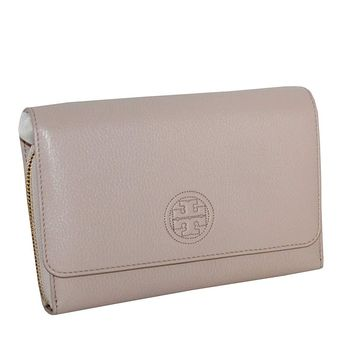 Tory Burch Women's Bombe Flat Wallet Crossbody Bag Leather Small Handbag