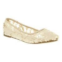 Office MACAROON PUMP OFF WHITE CREAM LACE Shoes - Womens Flats Shoes - Office Shoes