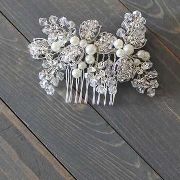 To Thee I Wed Bridal Comb in Silver/White