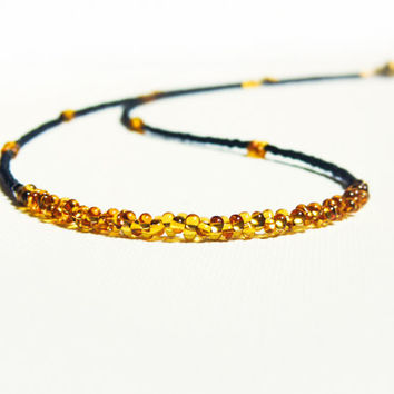 Minimalist chic Black golden topaz beaded strand necklace. Bohemian fashion jewelry. Summer sale