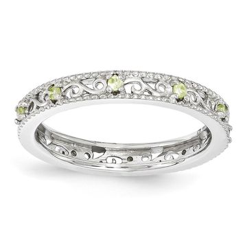 3mm Sterling Silver Stackable Expressions Peridot Scroll Band