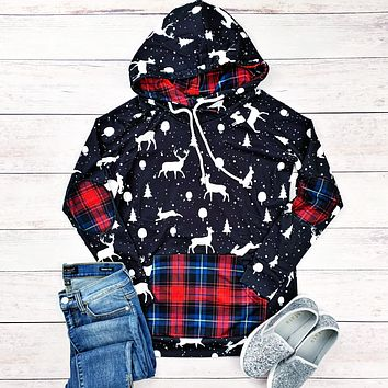 Navy Woodland with Red Plaid Accents Hoodie