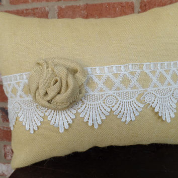 "Yellow Burlap Pillow with Beautiful Lace and Handmade Rose, cottage style, wedding decor, decorative pillow, 14"" x 18"""