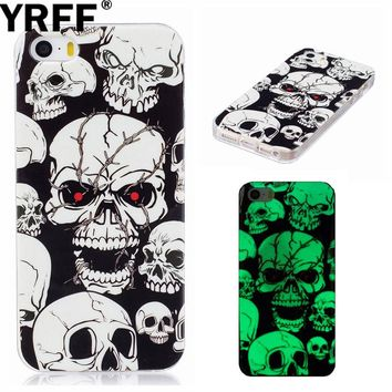 Mobile Phone Cases For iPhone 7 6 6S Plus 5 5S SE 5C cartoon Skull Luminous case for iphone 7plus 6plus 6 5s 5 5C SE Cover Case