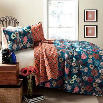 Lush Decor C24096Q14-000 Brady Turquoise Three-Piece King Quilt Set - (In No Image Available)