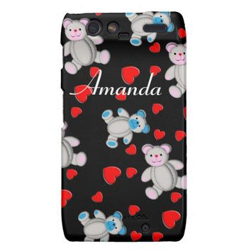 Cute Teddy Bears Red Heart Girly Design Droid RAZR Cover from Zazzle.com