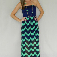 Light Waves Maxi Dress (Navy/Mint) | Girly Girl Boutique