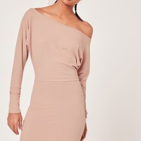 Missguided - Slouchy One Shoulder Mini Dress Nude