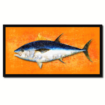 Bluefin Tuna Fish Orange Canvas Print Picture Frame Gifts Home Decor Nautical Wall Art