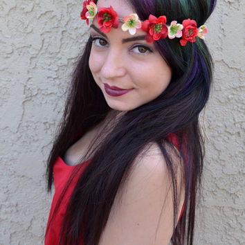 Red & Cream Flower Headband #C1046