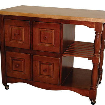 4 Drawer Kitchen Cart in Nutmeg