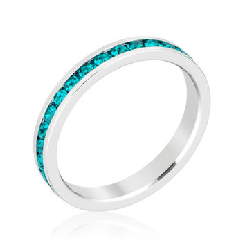 Gail Turquoise Green Eternity Stackable Wedding Ring | 1 Carat | Crystal