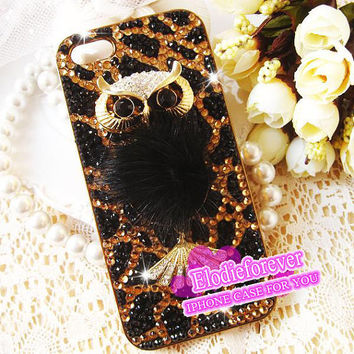 Bling Bling Luxury Owl iPhone 4 Case Rhinestone Lucky Bird iPhone 4S Case Crystal Swarovski iPhone 5 Case A30