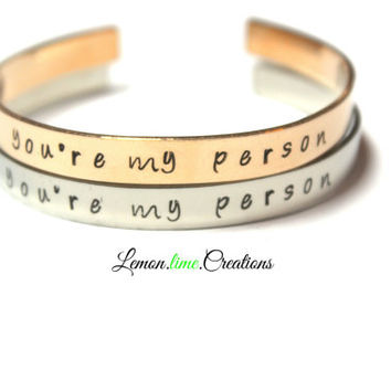 You're My Person, Set Of Two, Friendship Bracelets, Best Friends Gift Set, Pop Culture, Besties, Silver or Gold Cuff Bracelet