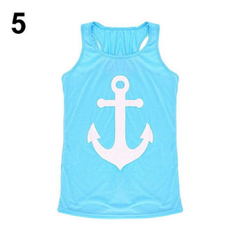 Loose Vest Casual Tank Top - Blouse Anchor Logo - Bowknot Back - Light Blue