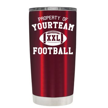 TREK Custom Property of Team Football on Translucent Red 20 oz Tumbler Cup