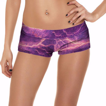 Purple Thunder and Lightening Print Spandex Rave Shorts