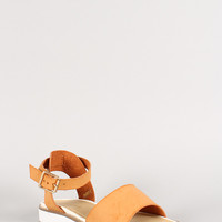 Leatherette Ankle Cuff Open Toe Low Flatform Sandal