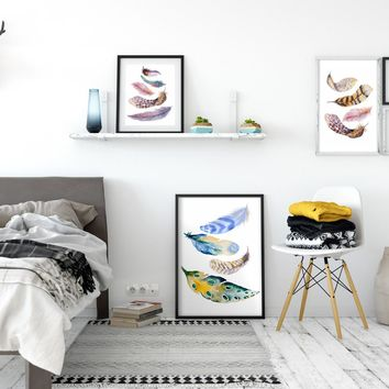Modern Nordic Watercolor Painted Birds Feathers A4 Print Canvas Art Wall Poster Pictures Home Decorative Paintings No Frames