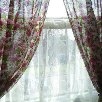 """Pink Floral curtains, window treatments, window curtains, shabby chic curtains, drapes, curtains, ready made, 72"""" curtains"""