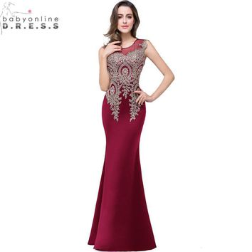 Vestido de Festa Longo Cheap Burgundy Lace Mermaid Prom Dresses Long 2017 Real Image Appliques Embroidery Evening Party Dress