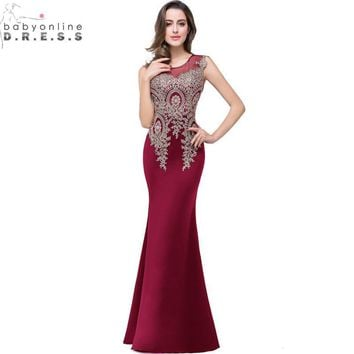 Vestido de Festa Longo Cheap Burgundy Lace Mermaid Prom Dresses af24eb0b3e74