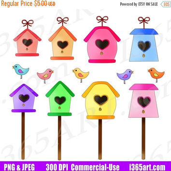 50% OFF SALE Bird House Clipart, Birdhouse Clip Art, Bird Homes, Spring Time, Scrapbooking, Planner Stickers, Digital Graphics, PNG