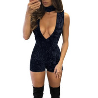Shine Velvet Playsuits Women elegant Halter V Neck Rompers Women Sleeveless playsuit Ladies overalls combinaison femme &03 SM6