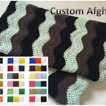 Three Color Custom Chevron Afghan - Crochet Ripple Blanket