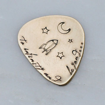 Personalized Guitar Pick Brass Hand Stamped Music Lovers Gift for Him