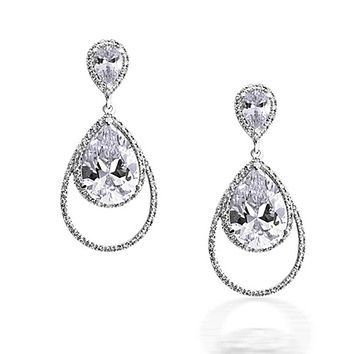 Teardrop CZ Halo Dangle Prom Pageant Statement Earring Silver Plated