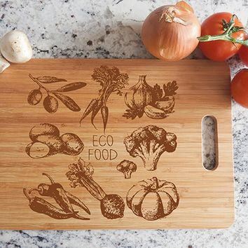 ikb472 Personalized Cutting Board Wood vegetables Eco food restaurant kitchen