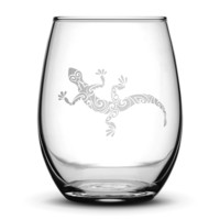 Wine Glass with Gecko Design, Hand Etched