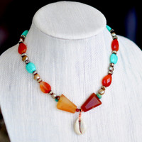 African Necklace,Tribal Necklace, Beaded Necklace,Boho Tribal, Ethnic Jewelry,Carnelian Necklace, Tribal Gypsy, Boho Hippie Necklace
