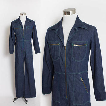 Vintage 1970s Coveralls - Zip Up Jumpsuit One-Piece Workwear 70s - Medium - Large Tall