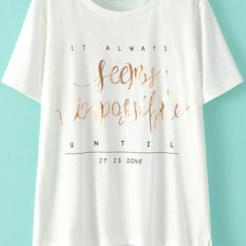 Seems Impossible Graphic Print White Short Sleeve T-Shirt