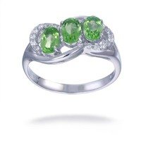 Vir Jewels Sterling Silver Peridot 3 Stone Ring (1.15 CT) In Size 7