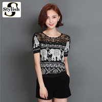 Women Blouse Cotton Linen Short Sleeve Summer New Fashion Lace O-neck Diamonds Shirt Elephant Print Tops Plus Size Clothing