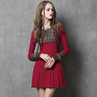Red Printed Long Sleeve Pleated Knit Dress
