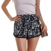 Blue Combo Fringe-Trim Floral High-Waisted Shorts by Charlotte Russe