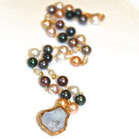 Geode Necklace Geode Jewelry Pearl Station Necklace Natural Pearl Necklace Long Necklace Multicolored Pearl Jewelry Rosary Style Necklace