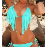 Black Blends Women Fashion Halter Backless Stripe New Style Sexy Beach Bikini S/M/L SY40490-48b $0.00 in eFexcity.