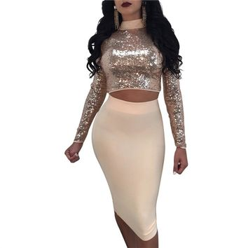Sequin Turtleneck Crop Top High Waist Midi Skirt Set