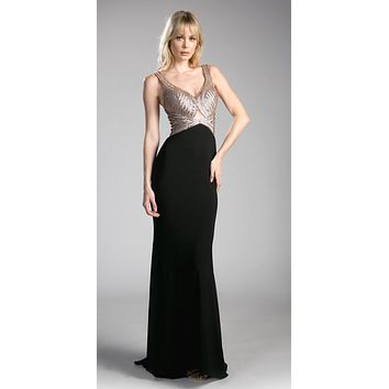 Cut-Out Back Evening Gown with Plunging Neckline Black/Gold