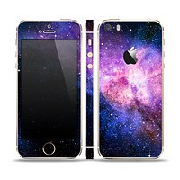 The Vibrant Purple and Blue Nebula Skin Set for the Apple iPhone 5s