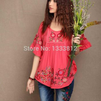 Vintage 70s Batwing Embroidery  Hippie Festival Boho Tops Tunic Peasant Blouse Feminina 2017 Blusas Free Shipping