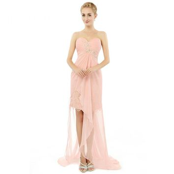New Arrival Sleeveless Sweetheart Neck Hi-Lo Long Prom Dresses Beads Chiffon Prom Party Gowns