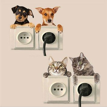 2017 New Funny Cat Dog 3D View Smashed Wall Sticker Bedroom Toilet Kitchen Home Switch Panel Stickers Decal