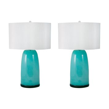 Blown Glass Table Lamps In Aqua - Set of 2