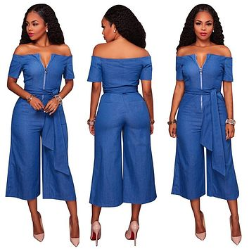 c4a6c2209ca Women Bow denim jumpsuit off shoulder Zipper bodysuit Casual culottes Sashes